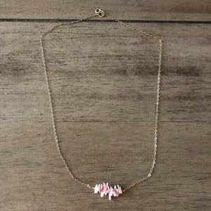 pink shell gold necklace